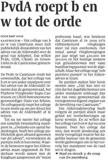 PvdA roept B en W Castricum tot de orde