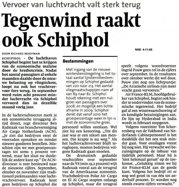 Tegenwind raakt ook Schiphol