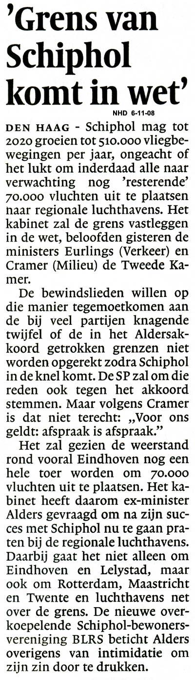 Eurlings en Cramer zeggen toe toe:'Grens van Schiphol komt in wet'