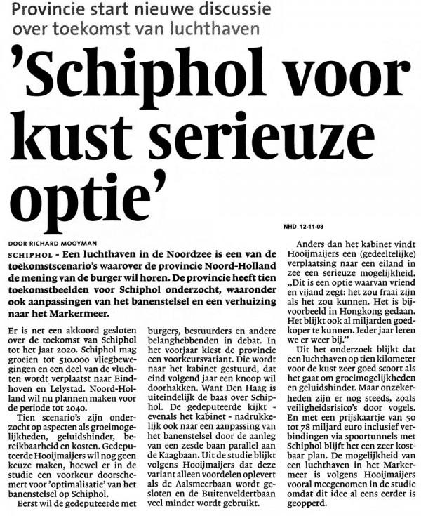 'Schiphol voor kust serieuze optie'
