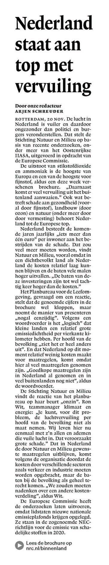 Nederland staat aan top met vervuiling