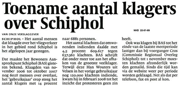 Toename aantal klagers over Schiphol