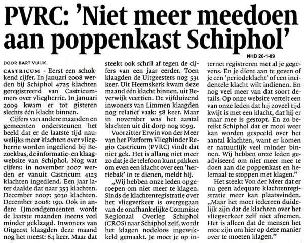 """PVRC: """"Niet meer meedoen aan poppenkast Schiphol"""""""