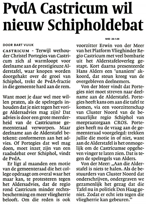 PVDA  Castricum wil nieuw Schipholdebat