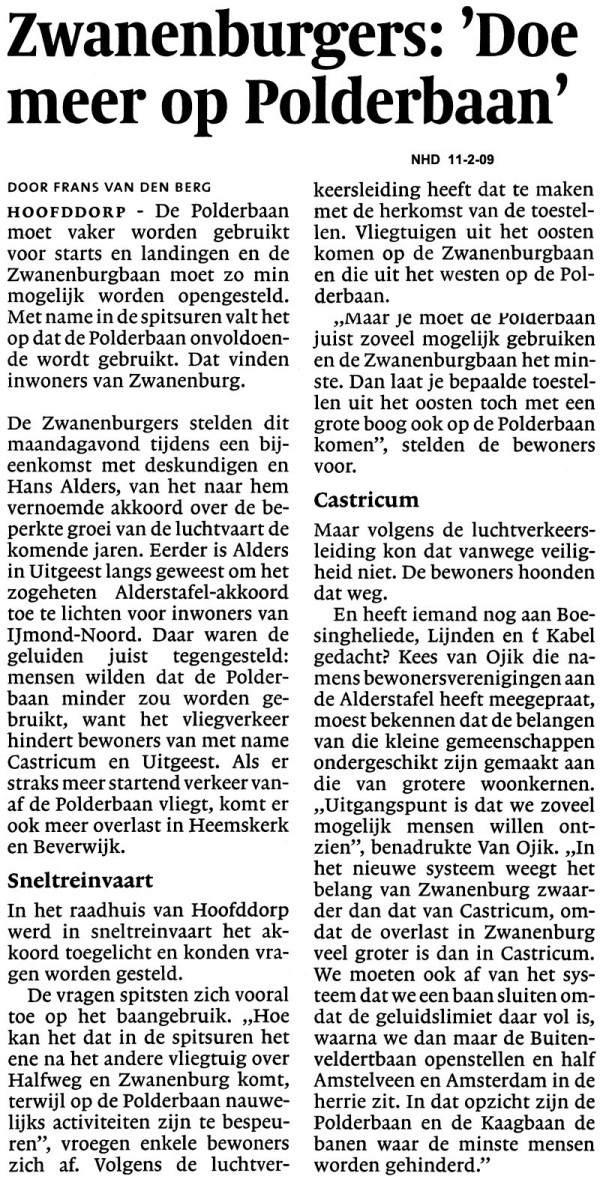 Zwanenburgers: 'Doe meer op Polderbaan'