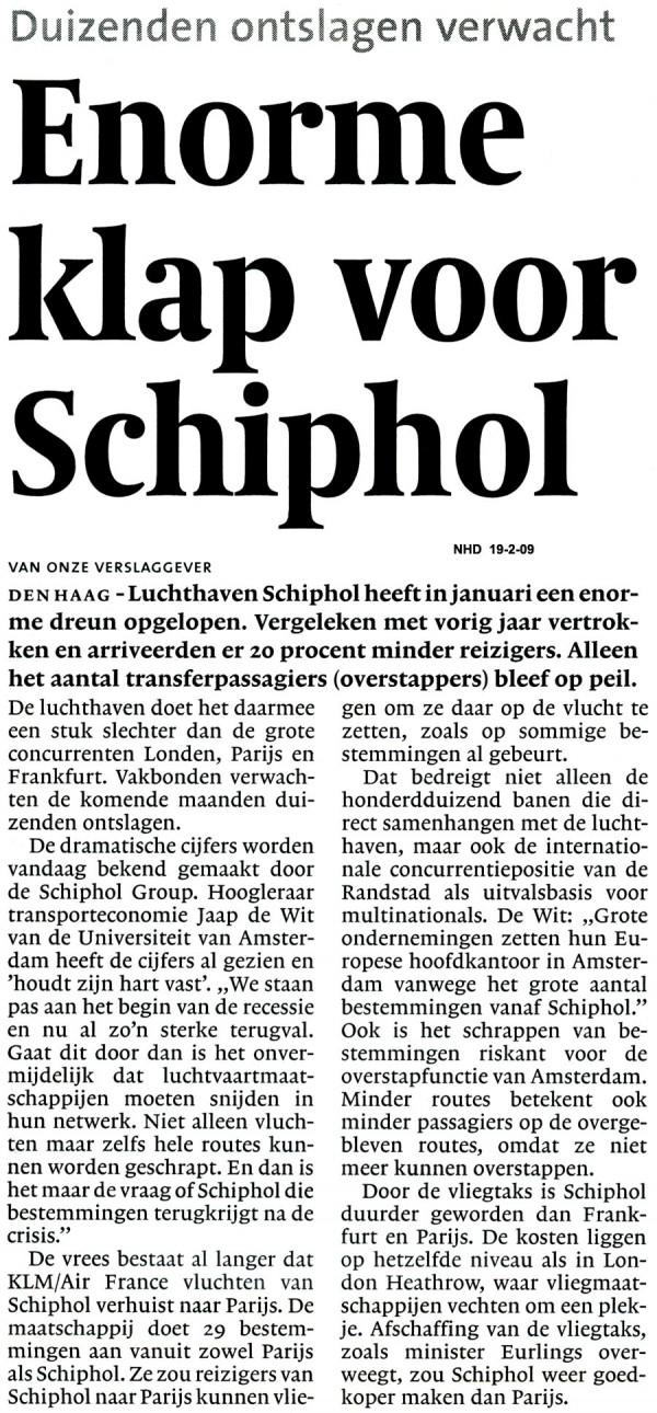 Enorme klap voor Schiphol