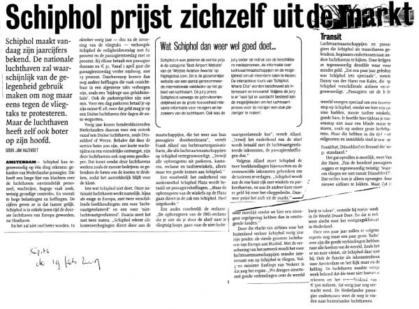 Schiphol prijst zichzelf uit de markt