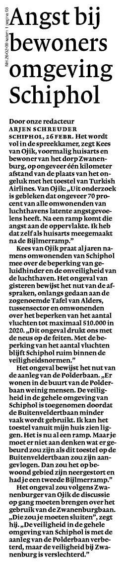 Angst bij bewoners omgeving Schiphol