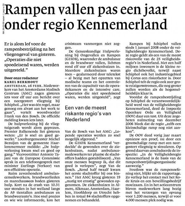 Rampen vallen pas een jaar onder regio Kennemerland