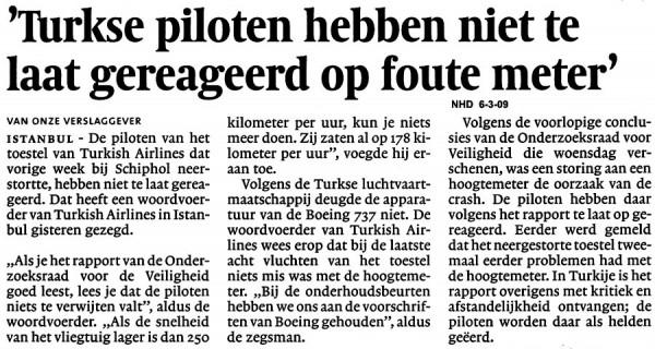 'Turkse piloten hebben niet te laat gereageerd op foute meter'