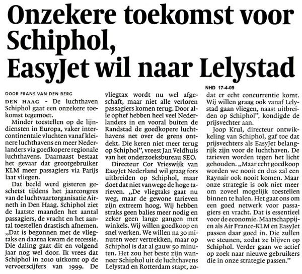Onzekere toekomst voor Schiphol, Easyjet wil naar Lelystad.