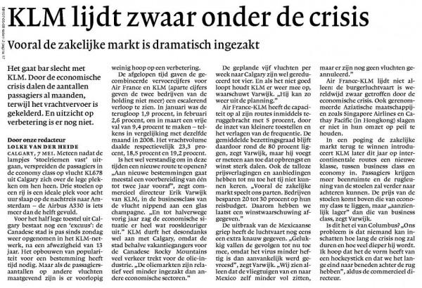KLM lijdt zwaar onder de crisis