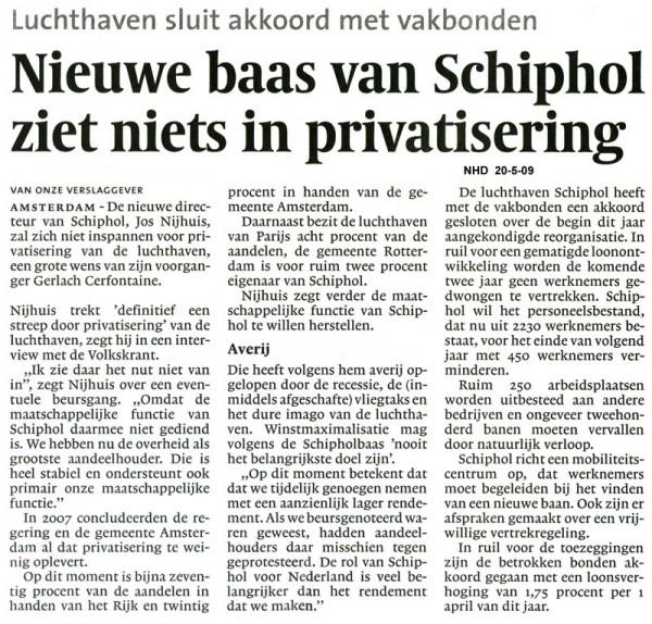 Nieuwe baas van Schiphol ziet niets in privatisering