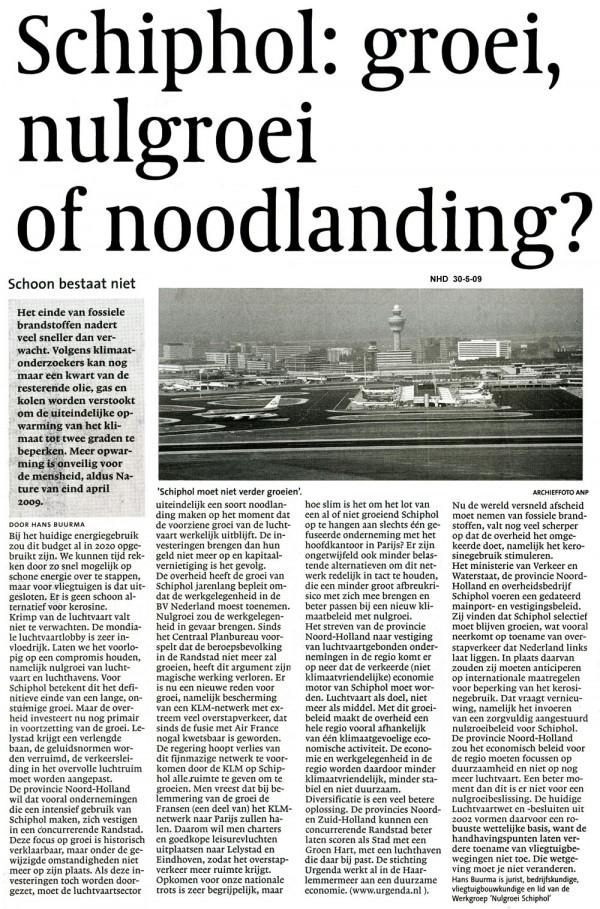 Schiphol: groei, nulgroei of noodlanding ?
