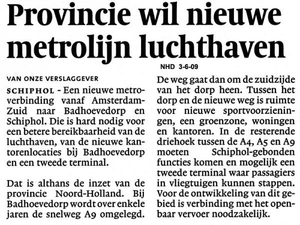 Provincie wil nieuwe metrolijn luchthaven