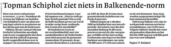 Topman Schiphol ziet niets in Balkenende-norm