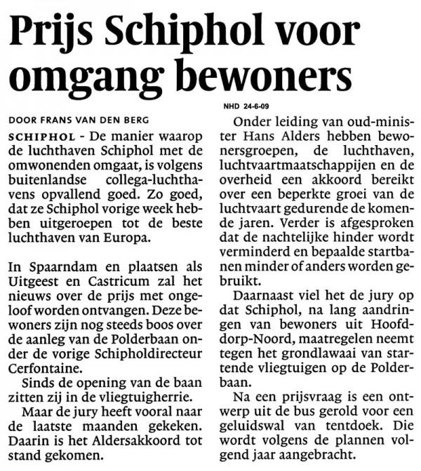 Prijs Schiphol voor omgang bewoners