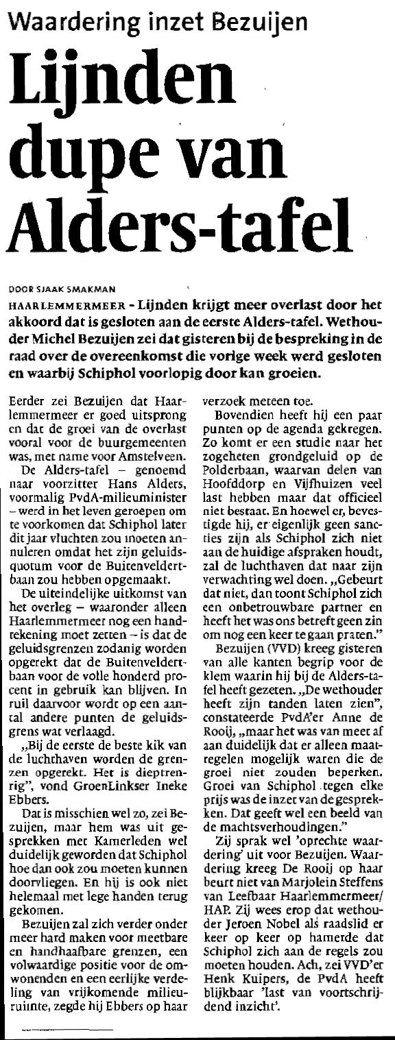 Lijnden dupe van Alderstafel