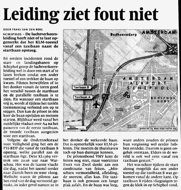 Verkeersleiding Schiphol ziet fout niet
