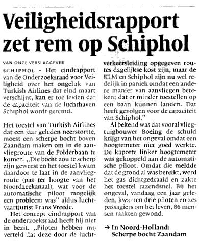 Veiligheidsrapport zet rem op Schiphol