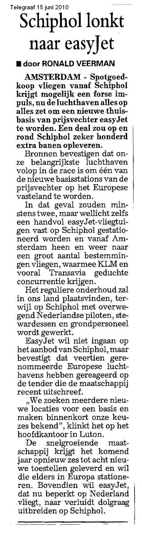Schiphol lonkt naar EasyJet