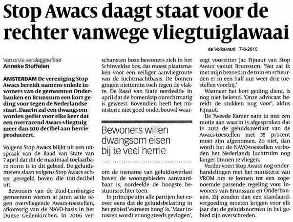 Stop Awacs daagt staat voor de rechter vanwege vliegtuiglawaai