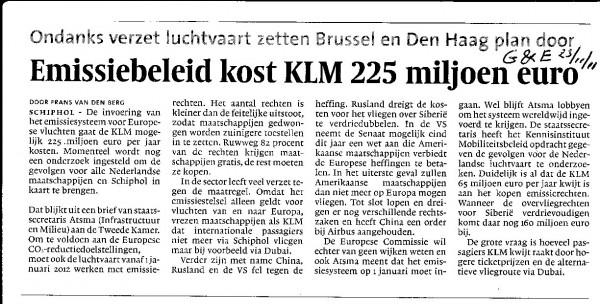 Emissiebeleid kost KLM 225 miljoen euro