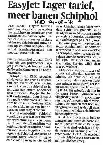 EasyJet: Lager tarief, meer banen Schiphol