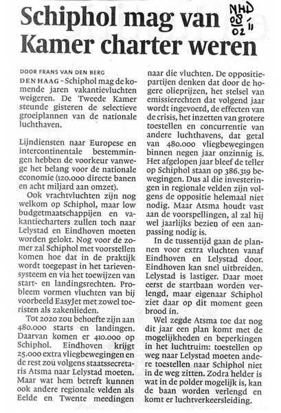 Schiphol mag van Kamer charter weren