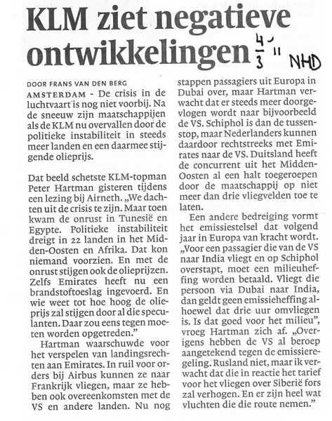 KLM ziet negatieve ontwikkelingen