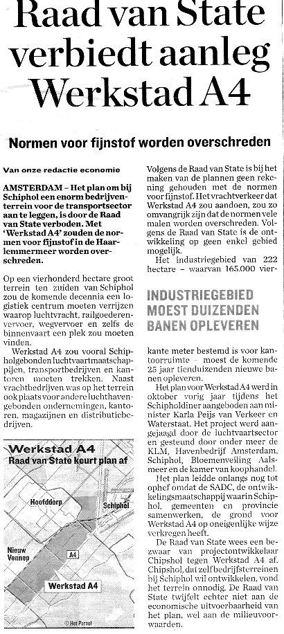 Parool_Raad van State verbiedt aanleg werkstad A4