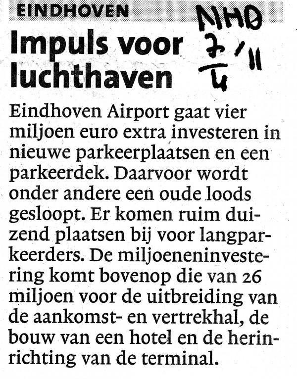 Impuls voor luchthaven Eindhoven