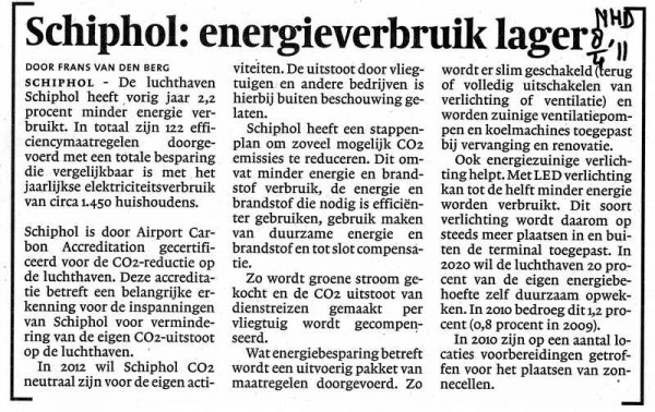 Schiphol: energieverbruik lager