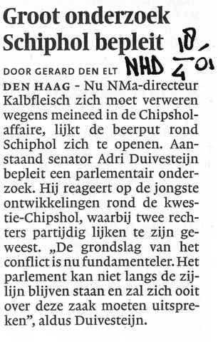 Groot onderzoek Schiphol bepleit