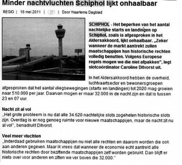 18 mei 2011 - Minder nachtvluchten Schiphol lijkt onhaalbaar