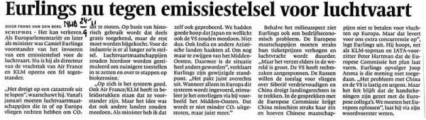 Eurlings nu tegen emissiestelsel voor luchtvaart