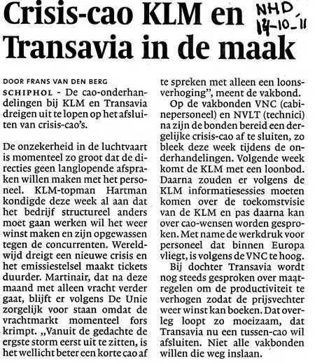 Crisis-cao KLM en Transavia in de maak