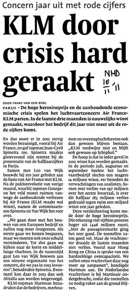 KLM door crisis hard geraakt
