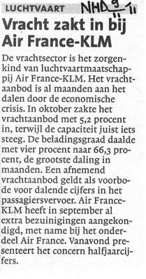 Vracht zakt in bij Air France-KLM