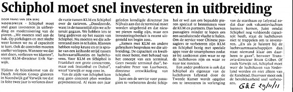 Schiphol moet snel investeren in uitbreiding
