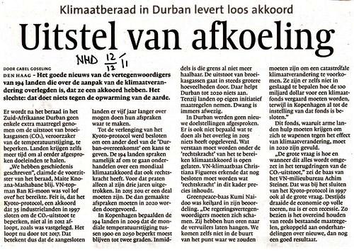 Klimaatberaad Durban: uitstel van afkoeling