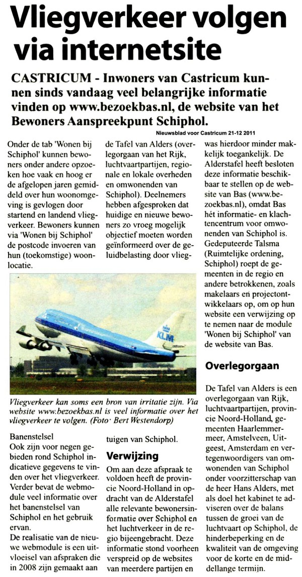 Vliegverkeer volgen via internetsite