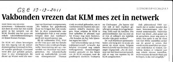 Vakbonden vrezen dat KLM mes zet in netwerk