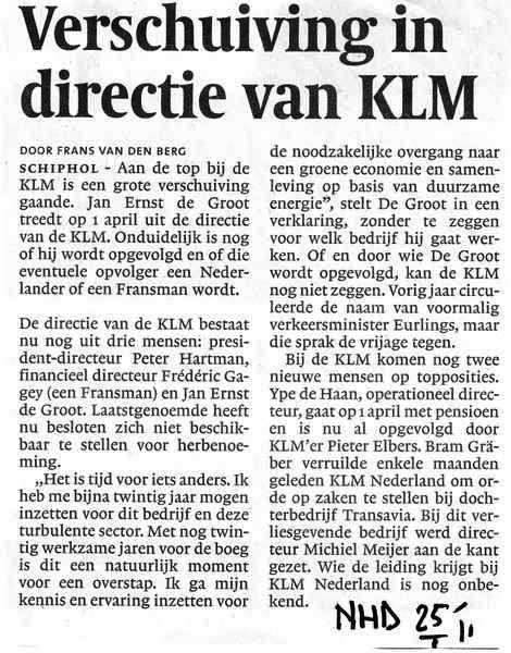 Verschuiving in directie van KLM