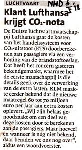 Klant Lufthansa krijgt CO2-nota