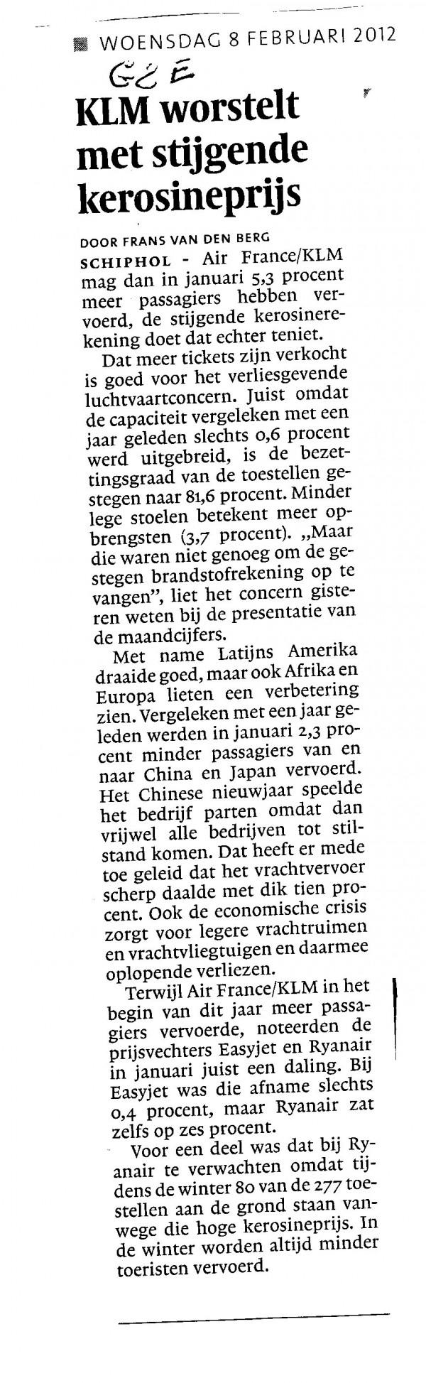 KLM worstelt met stijgende kerosineprijs