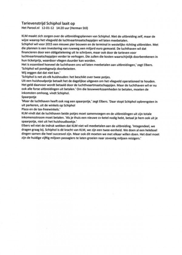Tarievenstrijd Schiphol Laait op