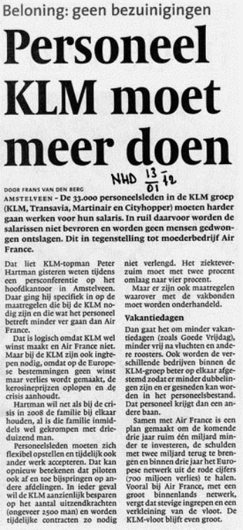 Personeel KLM moet meer doen