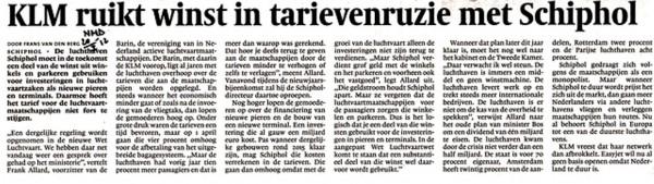 KLM ruikt winst in tarievenruzie met Schiphol