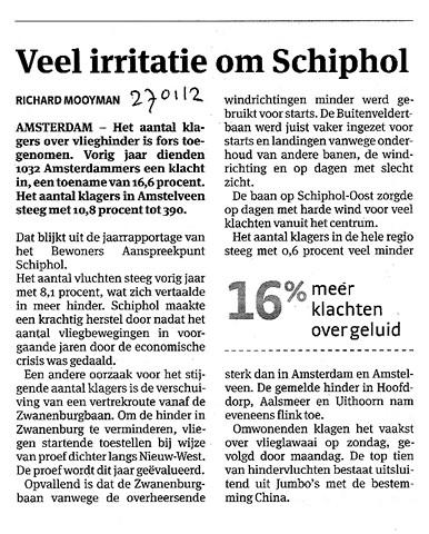 Veel irritatie Schiphol